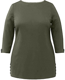 Plus Size Cotton Button-Side Tunic, Created for Macy's