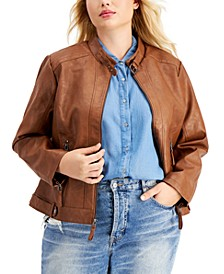 Trendy Plus Size Faux-Leather Jacket