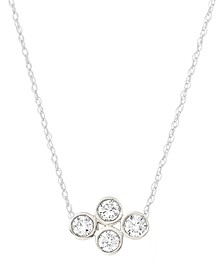 "Diamond Bezel Pendant Necklace (1/10 ct. t.w.) in Sterling Silver, 15"" + 1"" extender"