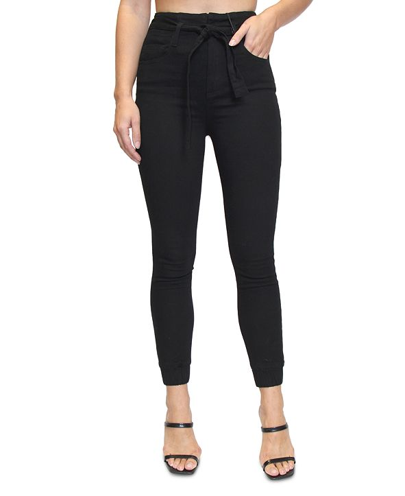 Almost Famous Crave Fame Juniors' Belted High-Rise Jogger Pants