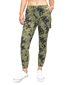 Crave Fame Juniors' Tie-Dyed Cargo Jogger Pants