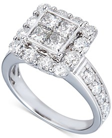 Diamond Princess Quad Halo Engagement Ring (2-1/2 ct. t.w.) in 14k White Gold