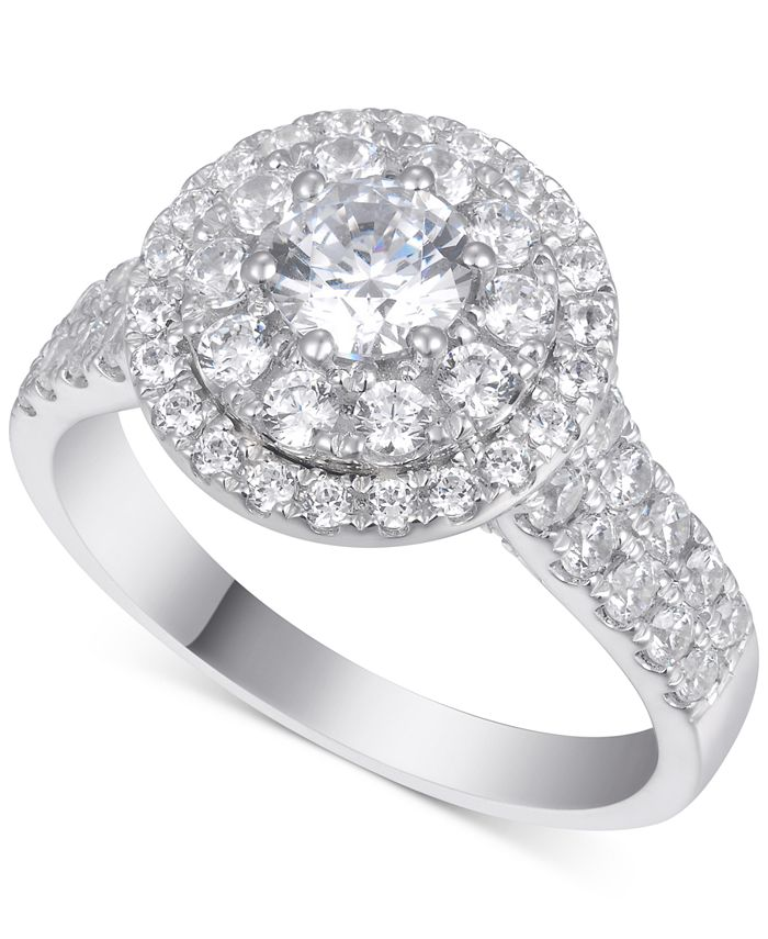 Macy's - Diamond Halo Cluster Engagement Ring (1-3/4 ct. t.w.) in 14k White Gold