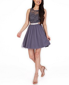 Juniors' Embellished Lace-Top Fit & Flare Dress