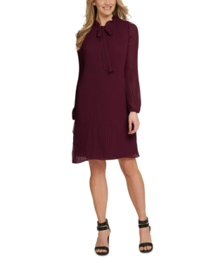 1920s Outfit Ideas: 10 Downton Abbey Inspired Costumes Dkny Long Sleeve Tie Neck Pleated Shift Dress $124.99 AT vintagedancer.com
