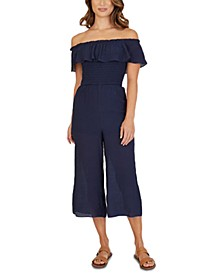 Juniors' Off-The-Shoulder Jumpsuit