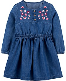 Toddler Girl Embroidered Denim Dress