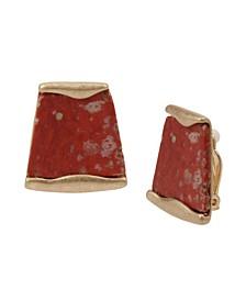 Jasper Geometric Stone Clip-On Earrings