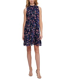 Floral Burnout A-Line Dress