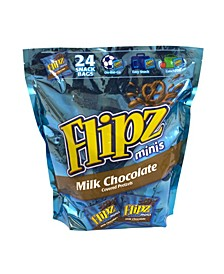 Mini Chocolate Covered Pretzels Snack Bags, 24 Count