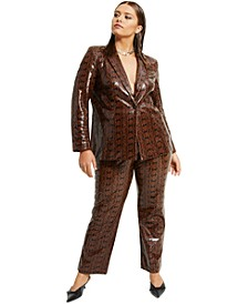 Plus Size Faux-Snakeskin Blazer, Created for Macy's