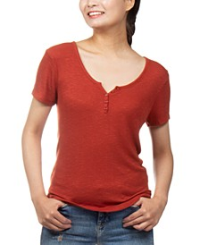 Juniors' Henley-Neck Top