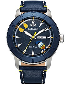 Eco-Drive Men's Donald Duck Blue Leather Strap Watch 44mm