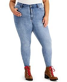 Trendy Plus Size Curvy High-Rise Raw-Hem Skinny Ankle Jeans