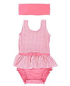 Baby Girls Gingham Skirted One Piece Swimsuit and Swim Headband Set