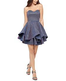 Juniors' Strapless Double-Ruffle Hem Dress