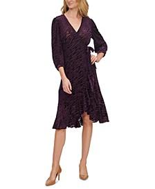 Petite Velvet Burnout Wrap Dress