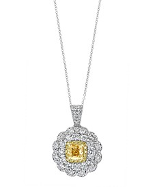 """EFFY® Diamond Floral 18"""" Pendant Necklace (2-1/2 ct. t.w.) in 18k Gold & White Gold"""