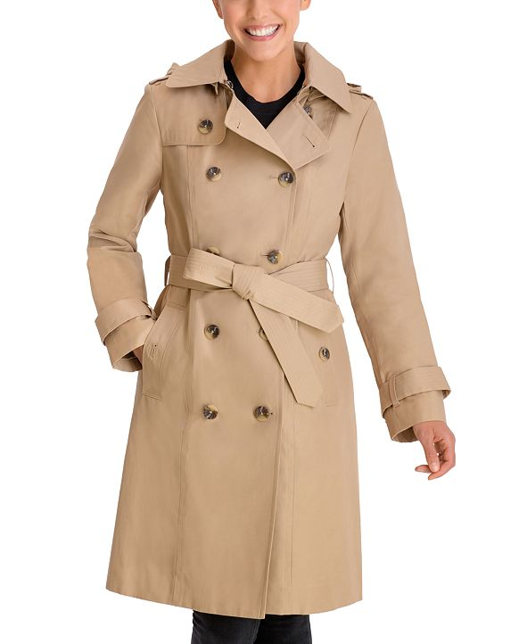 London Fog Double-Breasted Hooded Trench Coat, Created for Macy's