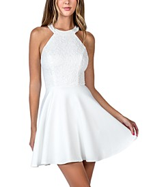 Juniors' Strappy Lace Halter Fit & Flare Dress
