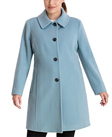 Plus Size Single-Breasted Club-Collar Coat, Created for Macy's
