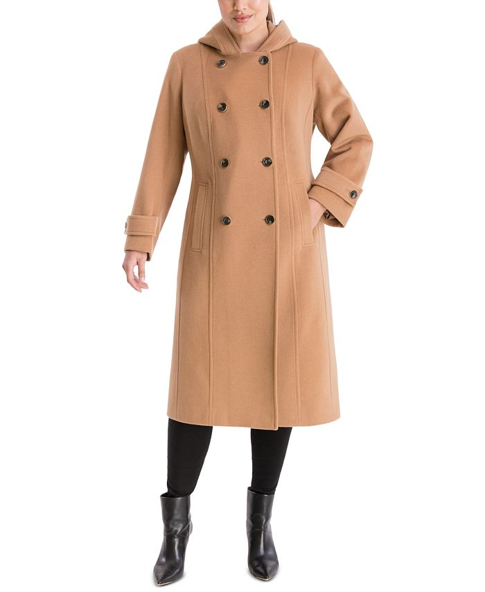 Anne Klein - Plus Size Double-Breasted Hooded Coat