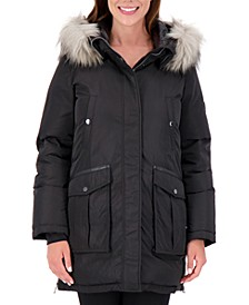 Petite High-Shine Faux-Fur-Trim Hooded Puffer Coat