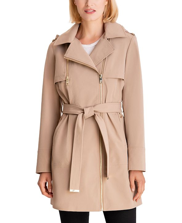 Michael Kors Asymmetrical Hooded Raincoat, Created for Macy's