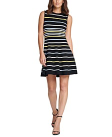 Petite Striped Fit & Flare Dress