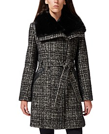 Petite Asymmetrical Faux-Fur-Collar Coat, Created for Macy's