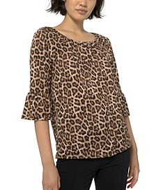 Plus Size Leopard-Print Flare-Sleeve Top