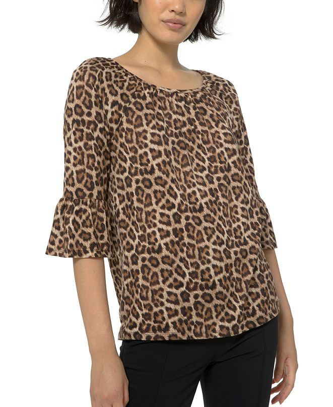 Michael Kors Plus Size Leopard-Print Flare-Sleeve Top