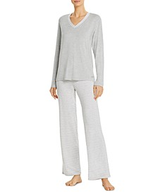 Top & Striped Bottoms Pajama Set