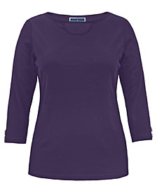 Cotton Cutout Boatneck T-Shirt, Created for Macy's