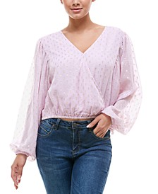 Clip-Dot Surplice-Neck Top
