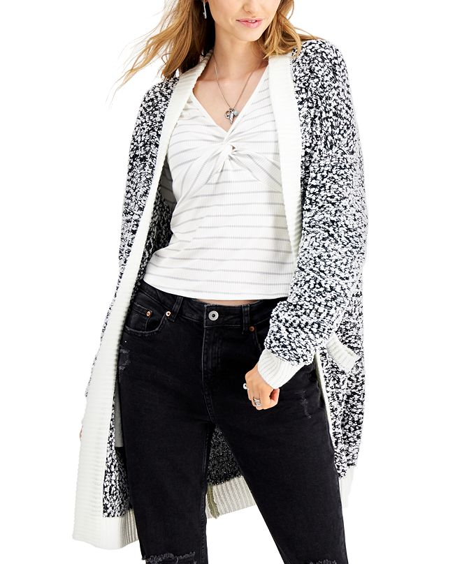 Say What? Juniors' Textured Open-Front Cardigan