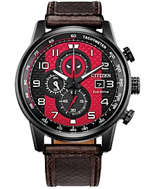 Eco-Drive Men's Chronograph Deadpool Brown Leather Strap Watch 45mm