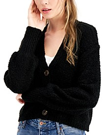 Juniors' Textured Button-Front Cardigan