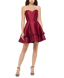 Juniors' Sweetheart-Neck Double-Tier Dress