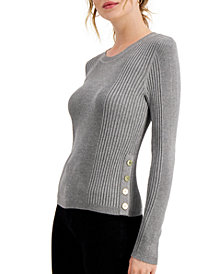Hooked Up by IOT Juniors' Ribbed Sweater with Buttons