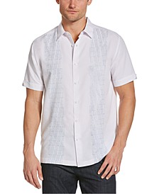 Men's Ombré Geo Embroidered Panel Shirt