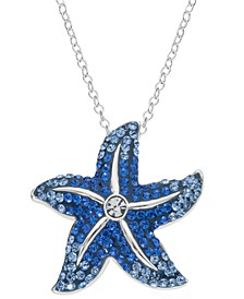 """Crystal Starfish 18"""" Pendant Necklace in Sterling Silver, Created for Macy's"""