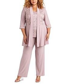 Plus Size Embellished Lace Jacket, Top & Pants