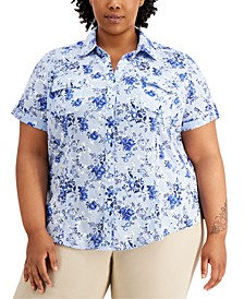 Plus Size Tuscan Garden Cotton Shirt, Created for Macy's