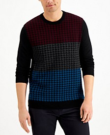 Men's Merino Wool Blend Houndstooth Sweater, Created for Macy's