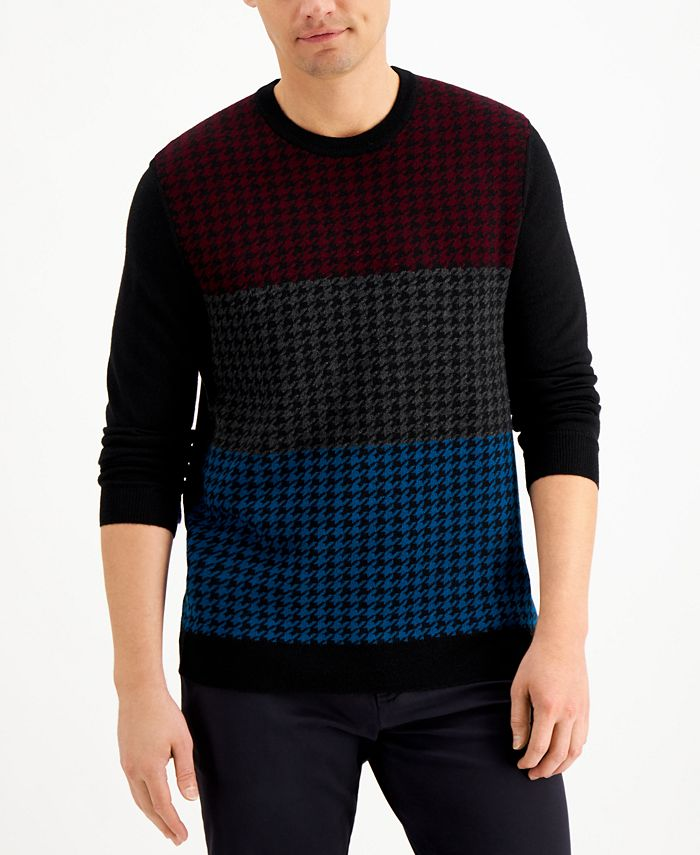 Club Room - Men's Colorblocked Houndstooth Sweater