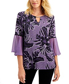 Printed Pleated-Sleeve Top, Created for Macy's
