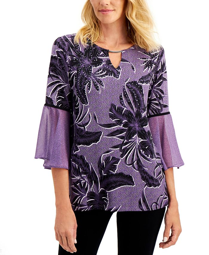 JM Collection - Printed Pleated-Sleeve Top