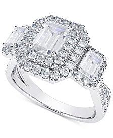 Diamond Three Stone Halo Engagement Ring (2 ct. t.w.) in 14k White & Yellow Gold