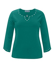 3/4-Sleeve Studded Cotton Top, Created for Macy's